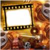 Fotomontaje de cinta de película de cine