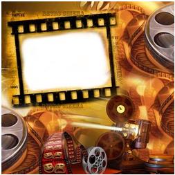 Fotomontaje de cinta de pelicula de cine
