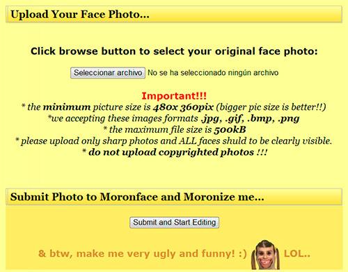 MoronFace - Subir fotografía